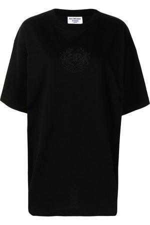 Balenciaga Dame Kortermede - Logo-embroidered oversize T-shirt