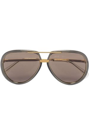 Gucci Herre Solbriller - Logo-engraved aviator-frame sunglasses