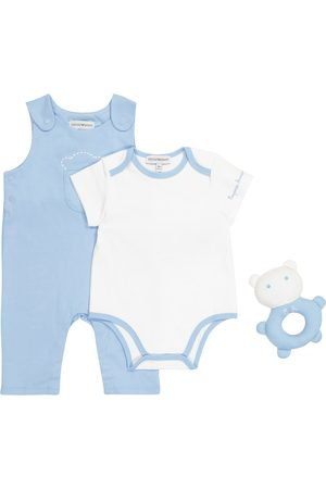 Emporio Armani Baby cotton overalls, bodysuit and soft toy set