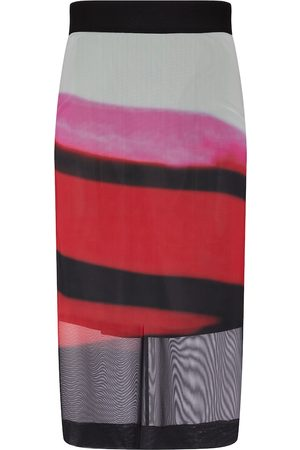 DRIES VAN NOTEN Striped mesh midi skirt
