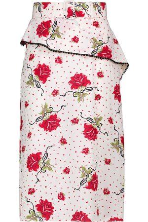 RODARTE High-rise floral silk crêpe midi skirt