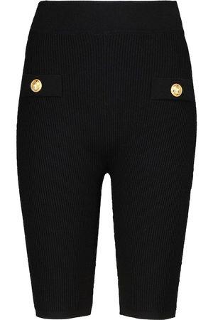 Balmain Ribbed-knit biker shorts