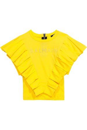 Balmain Ruffle-trimmed cotton T-shirt
