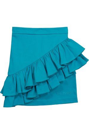 Balmain Ruffled cotton miniskirt