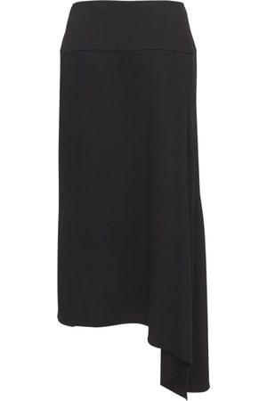 JIL SANDER Viscose & Silk Cady Stretch Midi Skirt