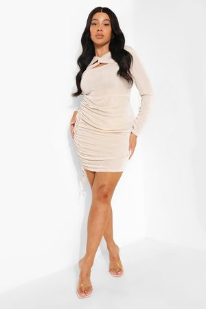 Boohoo Plus Textured Slinky Cut Out Bodycon Dress