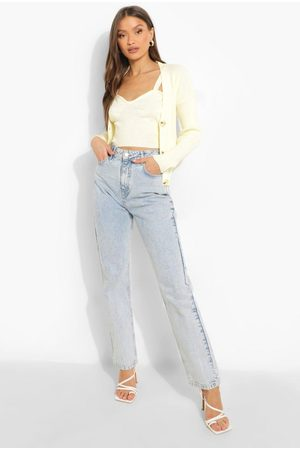 Boohoo Knitted Bralet And Cardigan Co-ord
