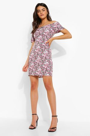 Boohoo Bardot Floral Print Mini Dress