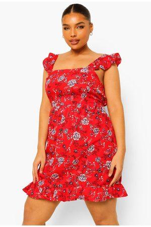 Boohoo Plus Floral Ruffle Sundress