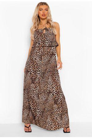 Boohoo Leopard Print Halterneck Maxi Dres