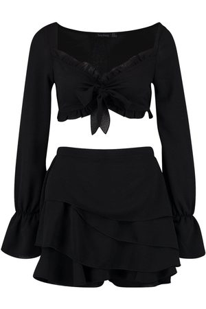 Boohoo Long Sleeve Tie Front And Ruffle Short Co-Ord Set