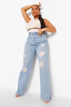 Boohoo Plus High Waist Distressed Split Hem Jean
