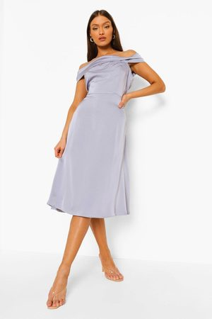 Boohoo Satin Off The Shoulder Drape Midi Dress