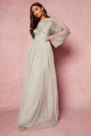 Boohoo Bridesmaid Hand Embellished Long Sleeve Maxi Dress
