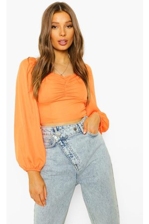 Boohoo Ruched Bust Long Sleeve Blouse