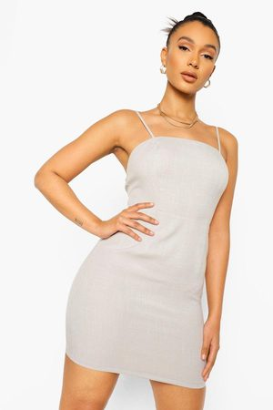 Boohoo Linen Look Mini Slip Dress