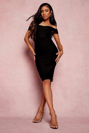 Boohoo Petite Bandage Wrap Bardot Midi Dress
