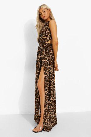 Boohoo Tall Leopard Backless Maxi Dress