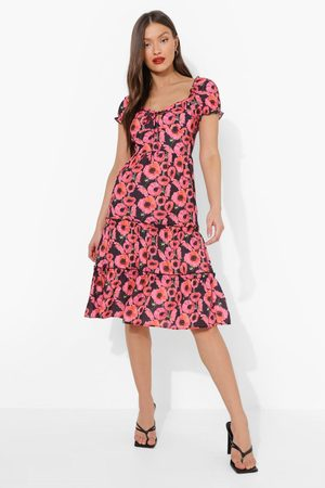 Boohoo Floral Print Tiered Midi Dress