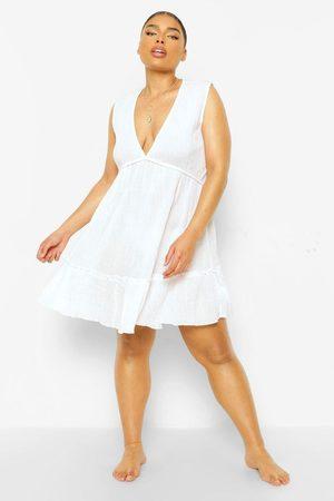 Boohoo Plus Ruffle Hem Beach Dress