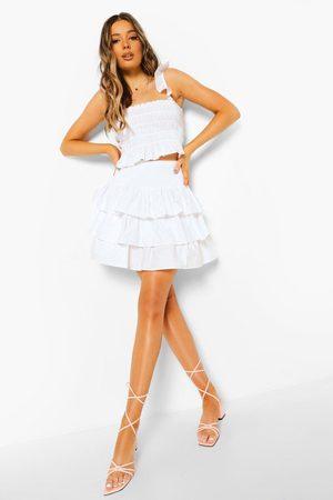 Boohoo Cotton Shirred Top & Ruffle Skirt Co-ord