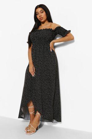 Boohoo Plus Polka Dot Off Shoulder Maxi Dress