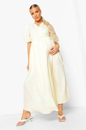 Boohoo Maternity Crinkle Wrap Midaxi Dress