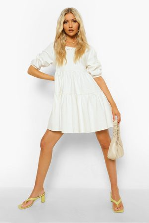 Boohoo Denim Puff Sleeve Smock Dress