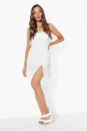 Boohoo Linen Strappy Low Back Split Mini Dress