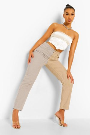Boohoo Contrast Cord Relaxed Straight Leg Jean