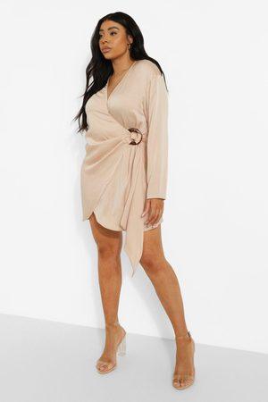 Boohoo Plus Satin Wrap Shirt Style Dress