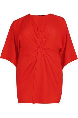 Boohoo Plus Knot Detail 3/4 Sleeve Dress