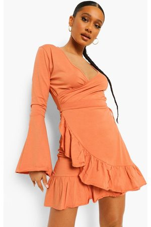 Boohoo Wrap Tie Side Frill Detail Tea Dress