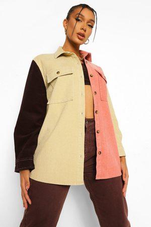 Boohoo Cord Colourblock Shirt