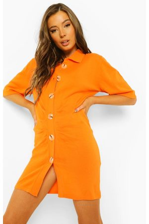 Boohoo Button Through Ruched Knitted Dress