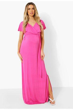 Boohoo Maternity Wrap Tie Waist Maxi Dress