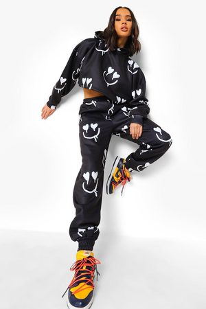 Boohoo Heart Face Print Cropped Tracksuit