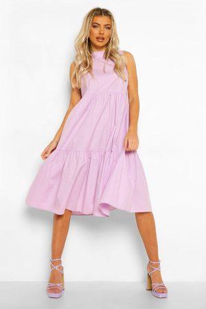 Boohoo Cotton High Neck Tiered Midi Dress