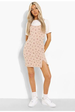 Boohoo Tall 2-in-1 Floral Print Slip Dress