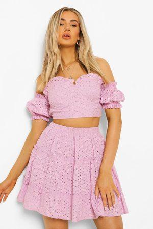 Boohoo Broderie Sweetheart Top & Ruffle Hem Skirt