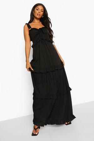Boohoo Ruffle Detail Strappy Maxi Dress
