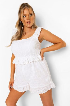 Boohoo Plus Broderie Anglaise Ruffle Playsuit