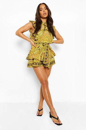 Boohoo Abstract Ruffle Belted Playsuit