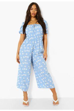 Boohoo Polka Tie Front Puff Sleeve Culotte Jumpsuit