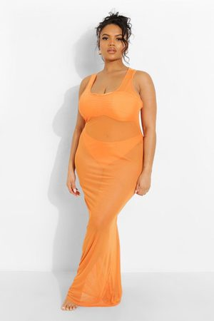 Boohoo Plus Tropicana Racer Front Mesh Beach Dress