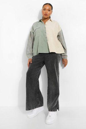Boohoo Plus Oversized Colour Block Cord Shirt
