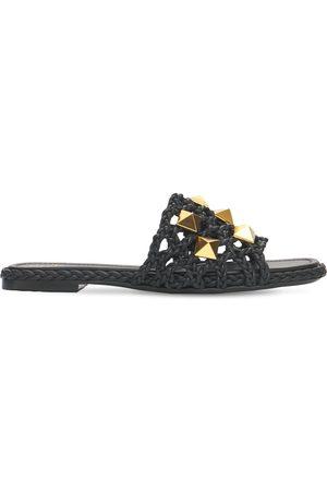 VALENTINO GARAVANI Dame Loafers - 10mm Roman Stud Woven Leather Slides