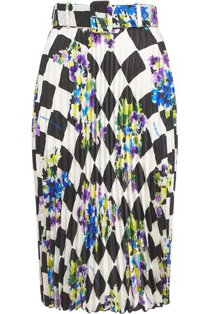 OFF-WHITE Check Printed Crepe Pleated Midi Skirt