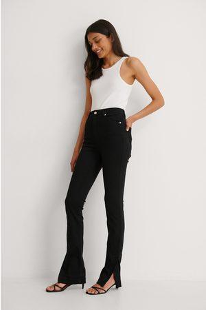 NA-KD Dame Skinny - Økologiske Skinny Jeans Med Sidesplitt Og Høyt Liv