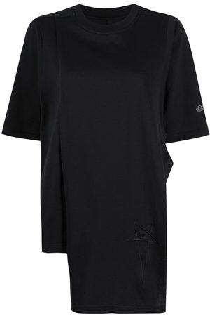 Rick Owens Dame Kortermede - Embroidered-logo asymmetric T-shirt